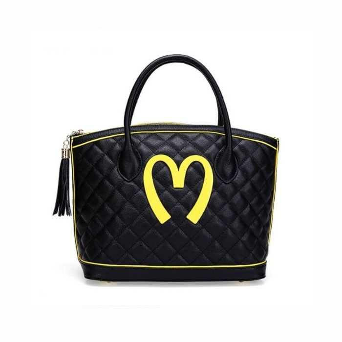 Moschino McDonald Logo Womens Quilted Leather Tote Black