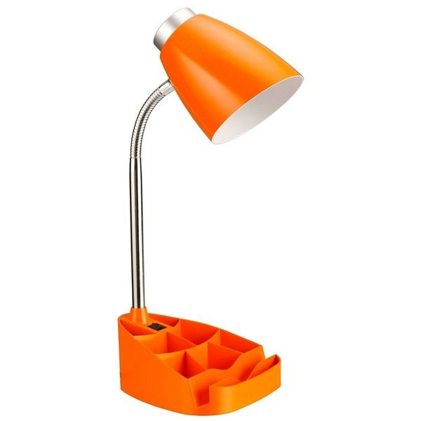 Orange Desk Lamp with Tablet Stand ($22) ❤ liked on Polyvore featuring home, lighting, desk lamps, orange desk lamp, round shades, orange shade, orange lamp and circular shades