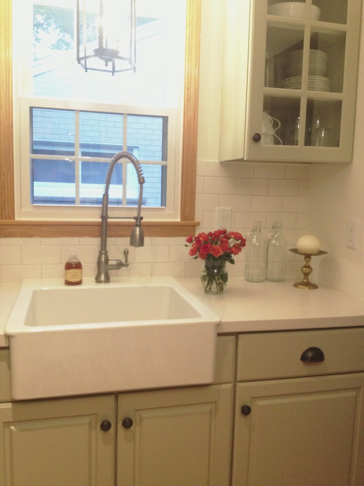 Attractive Painted Lidingo Cabinet Doors  BM Señora Gray, White Subway Tile Backsplash  With Gray/silver Grout. Corian Counters In Linen.