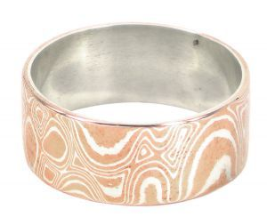 Mokume Gane wedding in sterling silver and copper