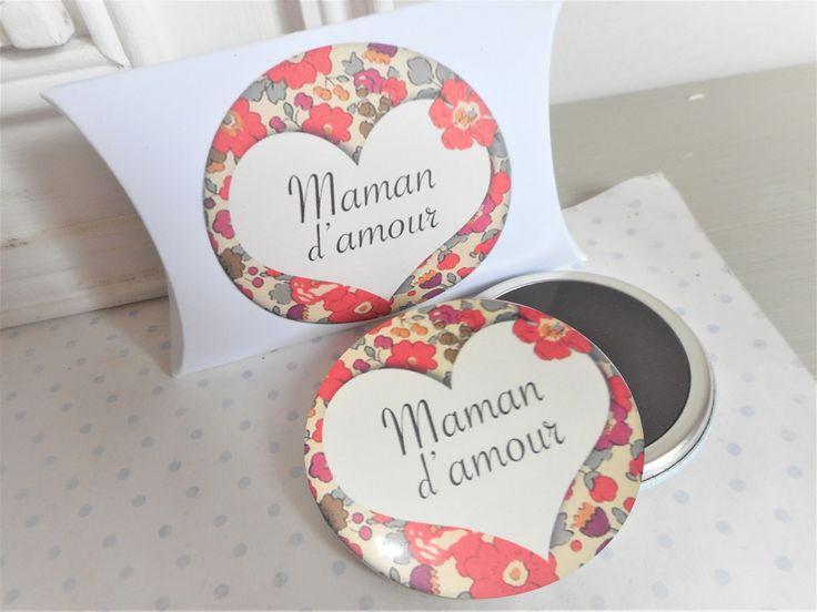 """Grand magnet + boite cadeau """"maman d'amour liberty"""" blanc, rouge, liberty, fête des mères : Accessoires de maison par miss-coopecoll"""