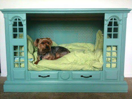 I saw this on FB.  Not my idea, but since I am in the furniture business, this really got my attention.  This is an old TV cabinet made into a dog bed