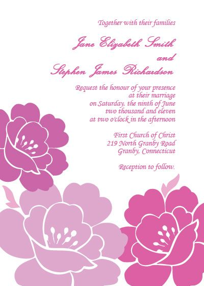 Free Pink And Purple Peonies Wedding Invitation Free