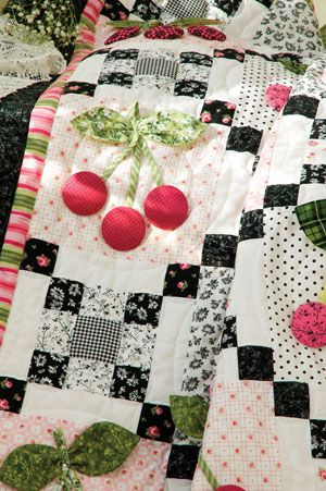 <3Cherry quilt...Traditional (flat) appliqué shapes for stems, leaves, and cherries.