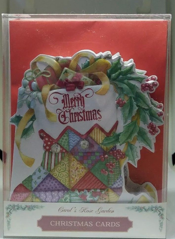 10 Carol S Rose Garden Boxed Cards Quilted Stocking Wreath Merry Christmas Ebay Christmas Holiday Greetings Holiday Greeting Cards Carol Rose