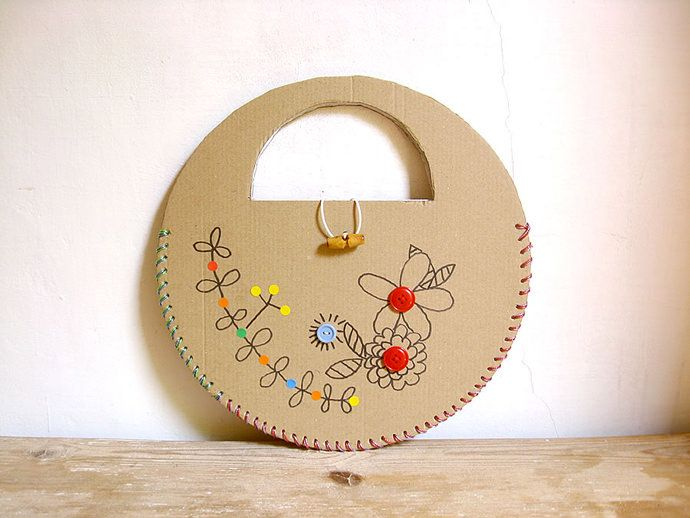 DIY Laced Recycled Cardboard Handbag