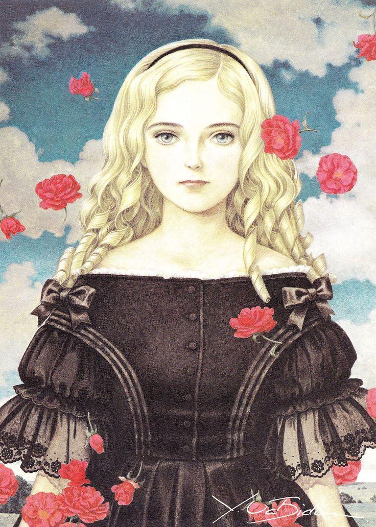 内田善美:星の時計のLiddell 第一巻カバー表紙絵,1985 サルバドール・ダリ「瞑想する薔薇」とルネ・マグリットの「ピレネーの城」って、「星の時計のLiddlle」の一巻のカバー絵を連想してしまった。この二つの絵からのイメージが重なり合う気がした、、、。