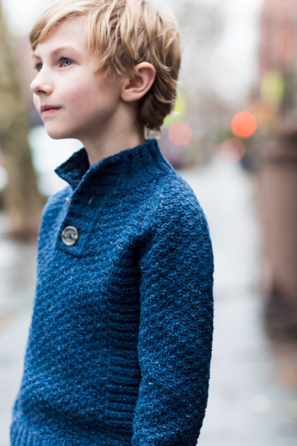 "Wyatt textured raglan henley by Michele Wang. From Brooklyn Tweed's ""BT Kids"" Collection. Photographed by Jared Flood."