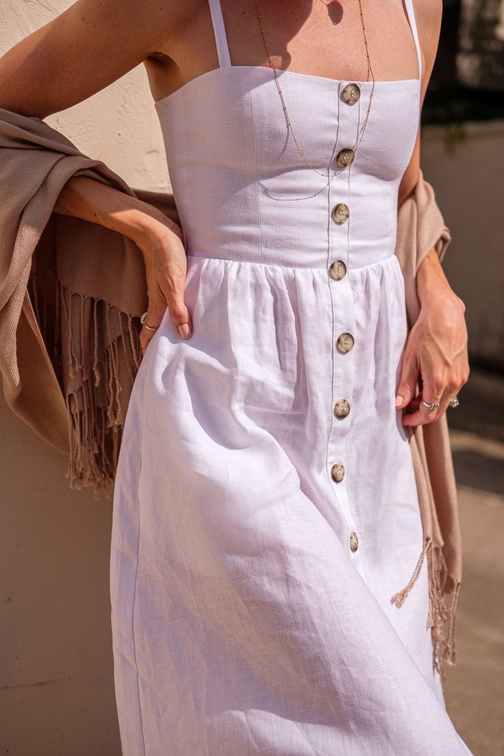 Elevating The Everyday A White Linen Dress Gold Lion Style Linen Dresses Linen Dress Outfit Linen Dress [ 1104 x 736 Pixel ]
