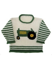 Tractor Pullover Technique - Knitting This baby and toddler sweater pattern…