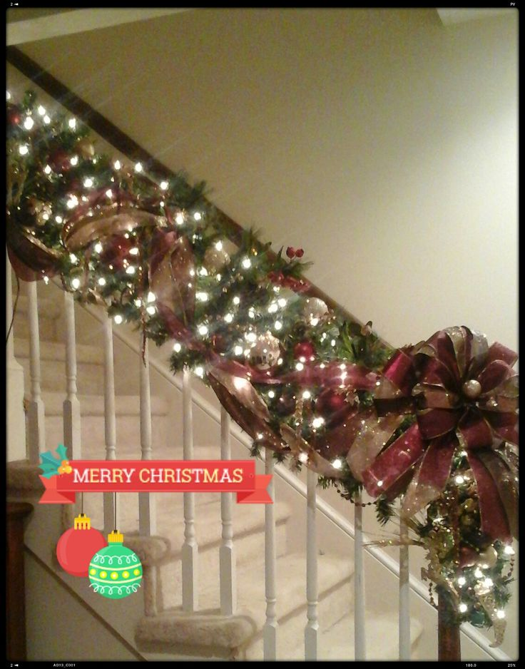 17 best images about christmas stairway garlands on for Christmas swags and garlands to make