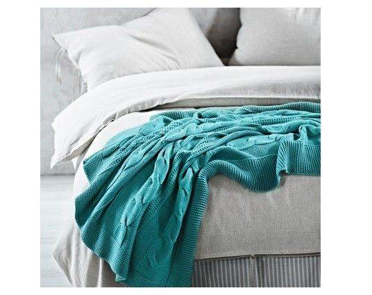 Cable Knit Throw in Ocean by Aura. Featured on The Block, available at Forty Winks