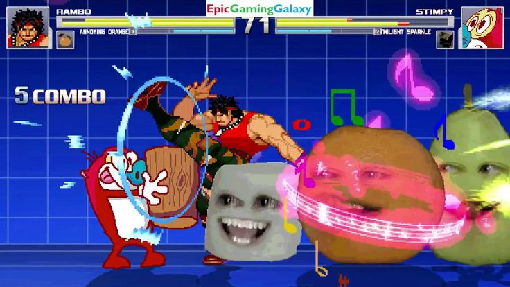 Annoying Orange & John Rambo VS Stimpy The Cat & Twilight Sparkle In A MUGEN Match / Battle / Fight This video showcases Gameplay of Twilight Sparkle From The My Little Pony Friendship Is Magic Series And Stimpy The Cat From The Ren & Stimpy Series VS John Rambo From The Rambo Series And The Annoying Orange In A MUGEN Match / Battle / Fight