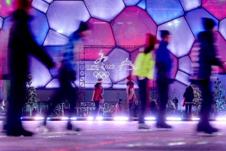 People skate before a New Year's Eve countdown event in front of Beijing's National Stadium, Known as the Bird's Nest in Beijing on Dec. 31, 2014. Beijing is bidding to host the 2022 Winter Olympic Games, with a decision on the winning city to be made in July 2015.