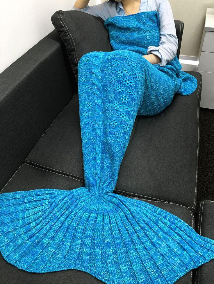 $21.66 Elegant Knitting Flowers Design Mermaid Shape Blanket