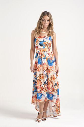 Lauren Pope wears By Lauren Pope Contrast Floral Maxi Skirt