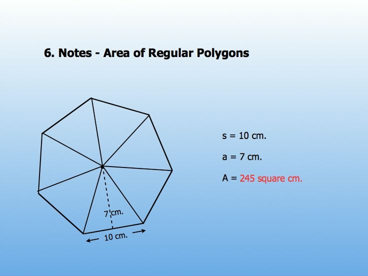 There are a number of area of a regular polygon formulas as shown ...
