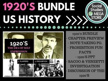 """Here is what is included in this 30 page download: - 2 different versions of my 1920's PPT - 2 page note taking guide for the students - 3 videos to embed in the video - Prohibition facts and figures to read in class - Commie Hunt simulation ( great simulation) - Flipped Classroom guide """"The images really keep this PowerPoint fresh and eye catching"""""""
