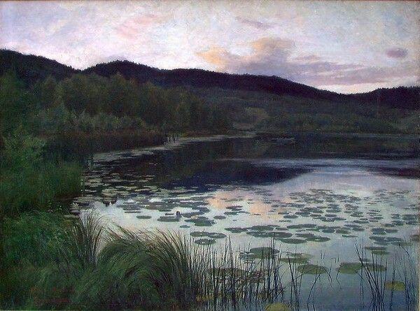 Kitty Kielland (1843 - 1914)  Sommernatt, 1886