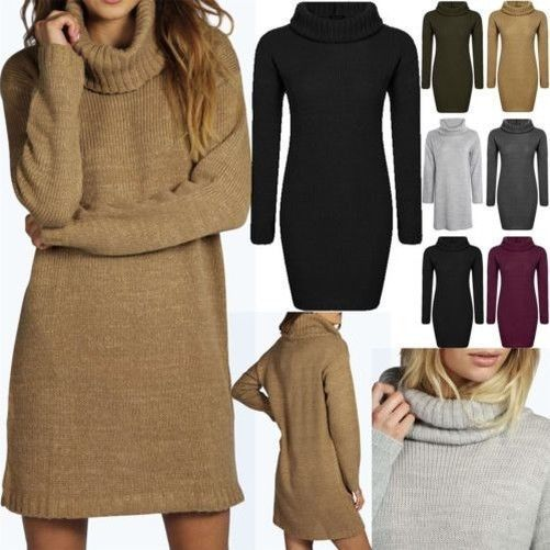Ladies Womens Speckle Knitted Oversize Cowl Neck Baggy Jumper Top Mini Dress