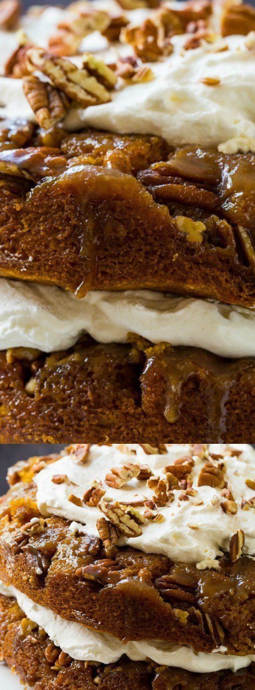This Pumpkin Praline Torte from Spicy Southern Kitchen is flavored with rich fall spices and a sweet and crunchy praline topping. It's layered and topped with fresh whipped cream!