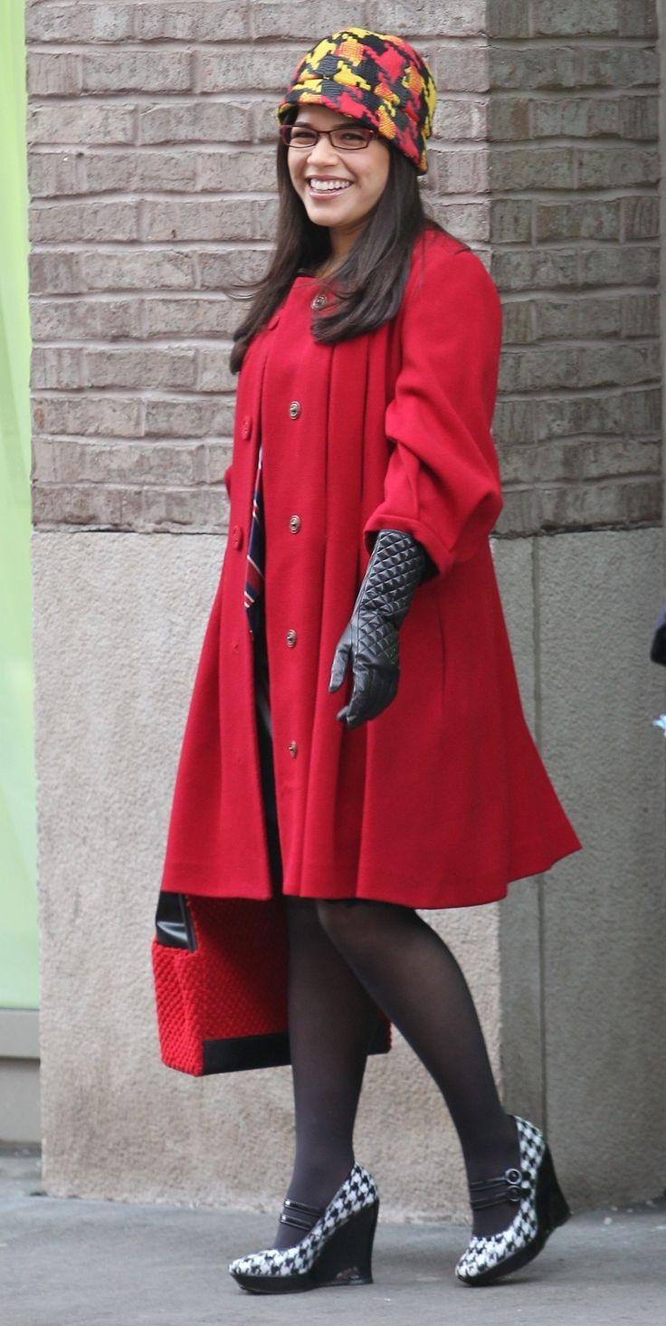 America Ferrera (Ugly Betty, Sisterhood of the Traveling Pants,) looking cute in black hosiery and wedge heels.