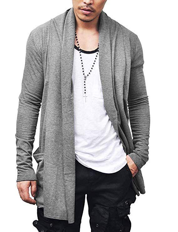 Mens Summer Ruffle Shawl Sleeveless Cardigan Lightweight Cotton Long Length Drape Cape Vest