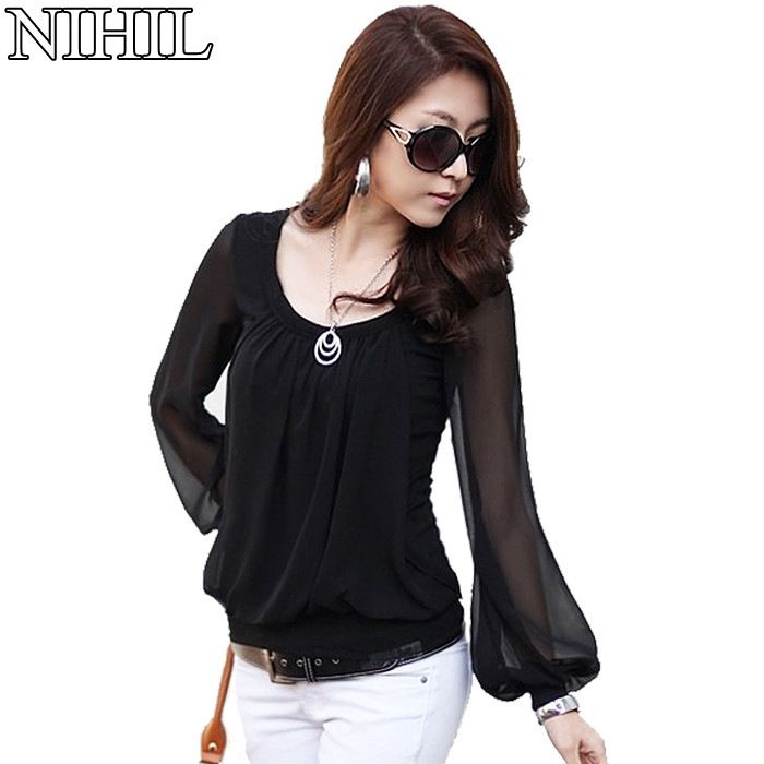 Long Sleeve Chiffon Blouse 2015 New Fashion Women Black O-Neck Loose Blouses Shirts Casual Women's Clothing Top Blusas Femininas - http://realbigshop.com/?product=long-sleeve-chiffon-blouse-2015-new-fashion-women-black-o-neck-loose-blouses-shirts-casual-women-s-clothing-top-blusas-femininas  Visit http://realbigshop.com to read more on this topic