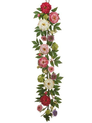 Beautiful Hydrangea And Peony Garland In Green Pinks And