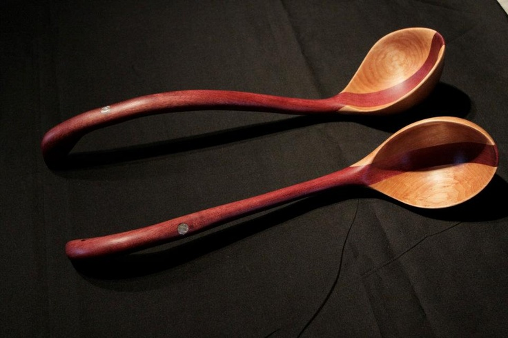 Handcrafted purple heart and birch ladles with abalone inlay