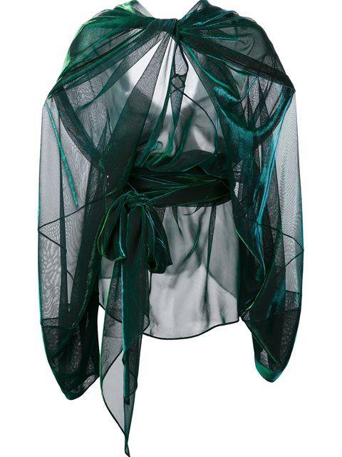Shop Maison Margiela sheer draped effect blouse.