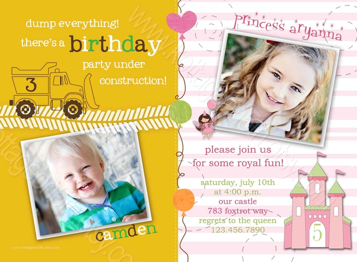 Printable Joint Birthday Party Invitations ~ Best images about kids birthday party on pinterest invitations trucks and
