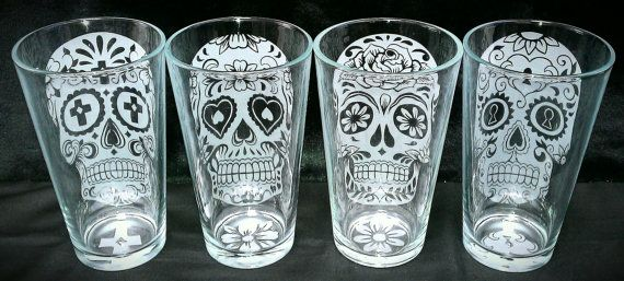 Why Do These Have To Be So Expensive I Love Them So Much Though Sugar Skull Custom Etched Drinking Glasses By Sandmanscottnew Sugar Skull Skull Decor Skull