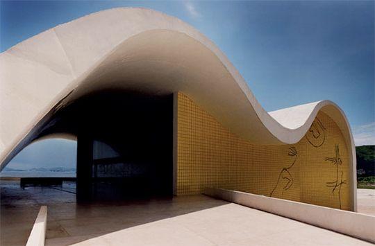 Teatro Popular de Niteroi located in Niteroi, Brazil. Designed by Brazilian architect Oscar Niemeyer. Completed in 2007.
