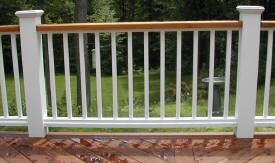 White Vinyl Deck Railing Check out plenty Deck Railing Ideas http://awoodrailing.com/2014/11/16/100s-of-deck-railing-ideas-designs/