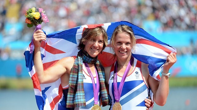 Katherine Grainger and Anna Watkins of Great Britain celebrate with their gold medals