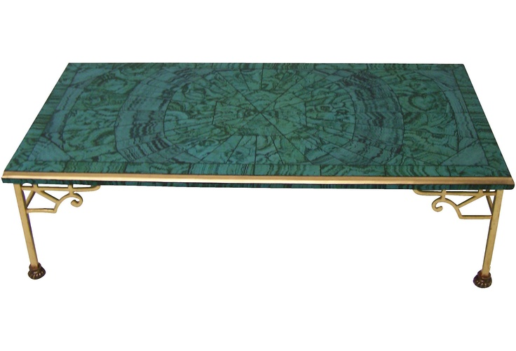 Swoon! Faux Malachite Coffee Table