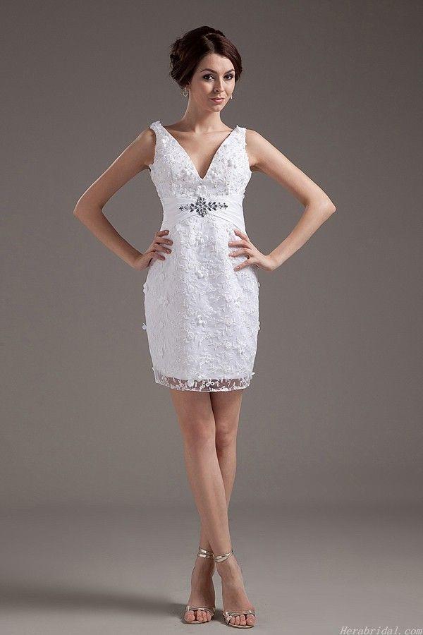 Charming V Neck Beading Lace Short Wedding Dress