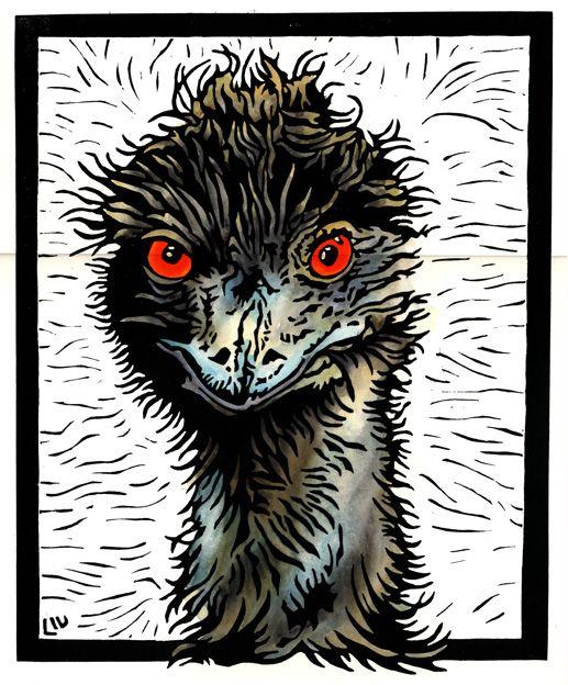✽   'mad emu'  -  lynette weir  -    linocut - google