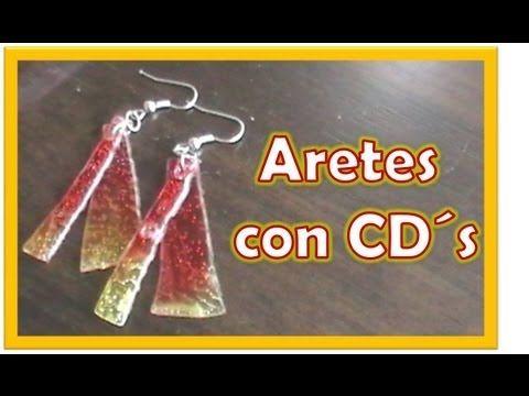 Pendientes con material reciclado de CDs - Tips de felicidad - YouTube
