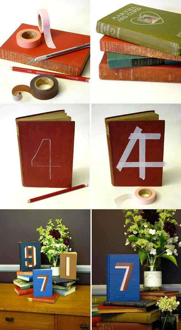 Vintage Book Table Numbers | 37 Things To DIY Instead Of Buy For Your Wedding