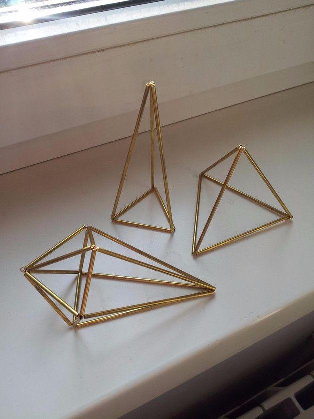 Deko-Objekte - Geometrische Messing Himmeli für Tillandsie/ Deko - ein Designerstück von HandmadeNinalu bei DaWanda