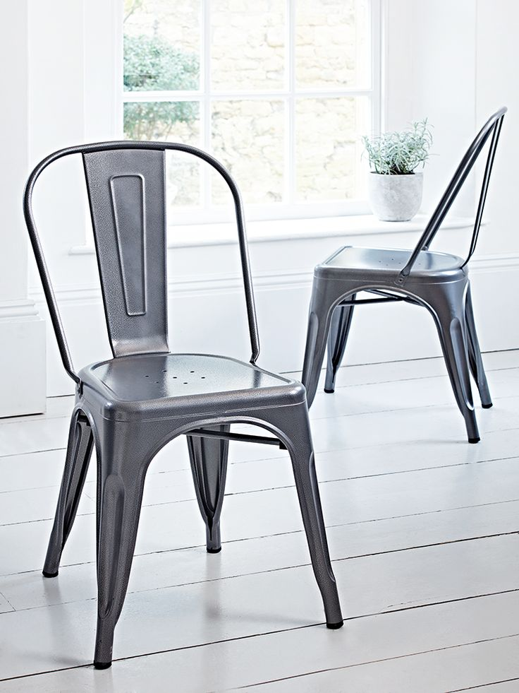 Our Pair Of Café Chair Have Been Made From Lightweight Hammered Iron With A Powder Coated Grey Finish Perfect For Around Your Kitchen Table