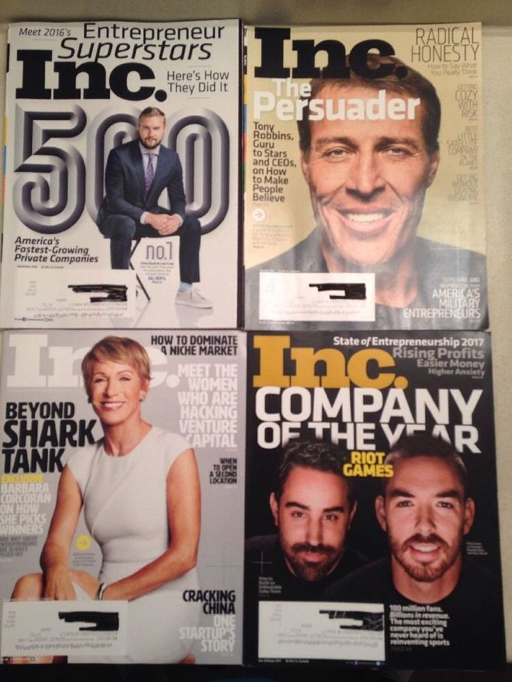 Lot of 4 INC. Entreprenuer Magazines Chris Davis, Tony Robbins, Barbara Corcoran