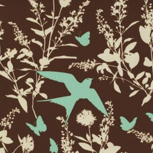 Joel Dewberry - Bungalow Home Dec Sateen - Swallow Study in Chocolate: so pretty! Love this fabric :D