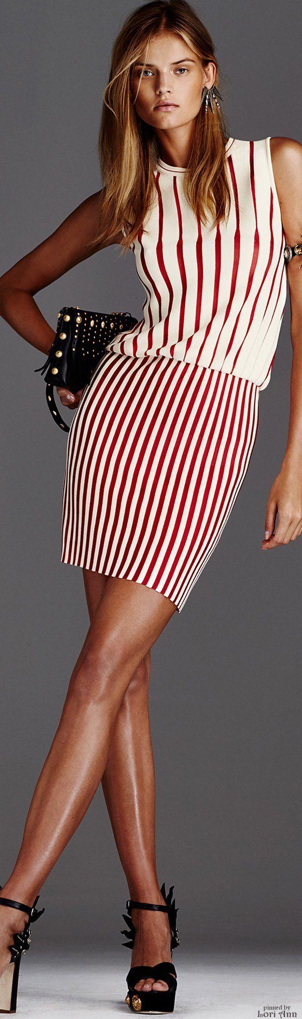 Fausto Puglisi Resort 16: white & red striped dress, black studded bag & sandals.