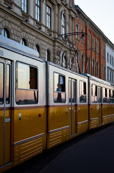 Tram in Budapest, Hungary. Budapest has a fairly extensive and efficient public transport system. It is also cheaper than in most Western European cities. A wide variety of trams, buses, trolleys and metro trains run in the city. (V)