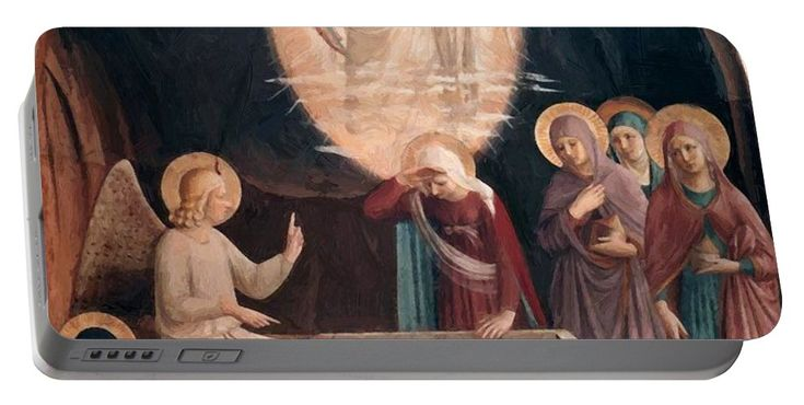 Resurrection Portable Battery Charger featuring the painting Resurrection Of Christ And Women At The Tomb 1442 by Fra Angelico