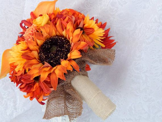 Check out Sunflower Wedding Bouquet- Calla Lily Bridal Bouquet- Spring, Summer and Fall Wedding Bouquet- Burlap Bouquet- Ready To Ship on 3mimis