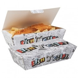 Fish and chips food box, great for a great British seaside party!
